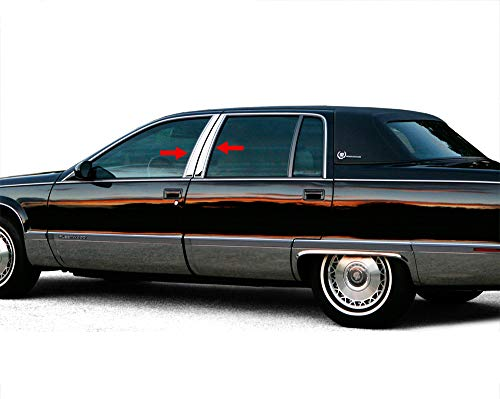 Made in USA! Works with 1993-1996 Cadillac Fleetwood 4PC Stainless Steel Chrome Pillar Post Trim