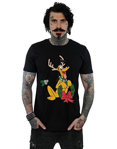 Disney Men's Pluto Christmas Reindeer T-Shirt Black Small