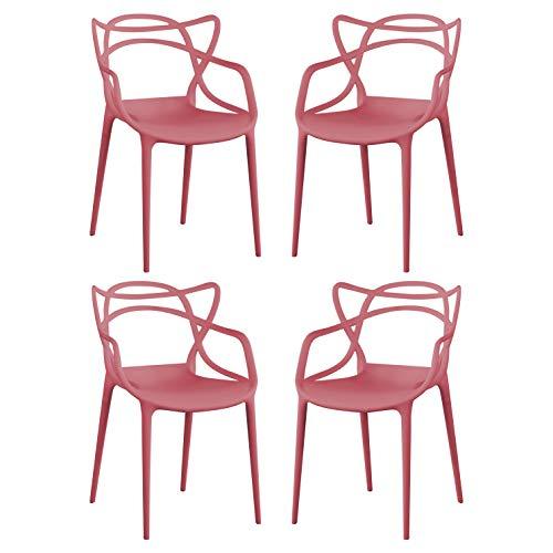 Milani Home s.r.l.s. Set di 4 Sedia in Polipropilene Plastica Rossa di Alta qualità di Design per Interno E Giardino Stile Moderno per Sala da Pranzo, Cucina