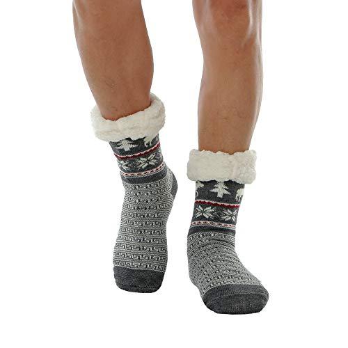 WYTartist Hausschuhe Socken Herren Stoppersocken Wollsocken Wintersocken Premium Hausschuhsocken Herren Thermosocken (Elch(Grau))