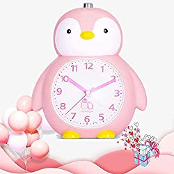 BEW Kids Alarm Clock, Girls Bedroom Alarm Clock, Penguin Animal Shaped & Snooze & Night Light & 2 Alarm Sounds & Battery Operated, Kids Gift