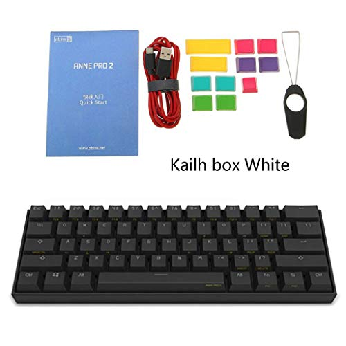Mi Tu 60% ANSI Teclado mecánico NKRO, Teclado Gaming RGB Kailh Box Switch, Bluetooth 4.0 Tipo C Dual Mode