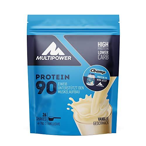 Multipower Protein 90 Proteinpulver 780g, hochwertiges Eiweißpulver mit 35g Eiweiß pro Portion, für leckere Shakes zum Muskelaufbau – Vanille