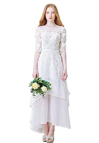 Snowskite Women's High-Low Chiffon Beach Wedding Evening Party Dress Ivory 4
