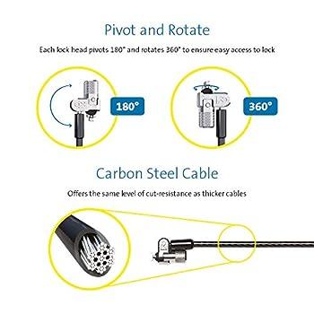Kensington Twin MicroSaver 2.0 Câble de sécurité à deux Verrous pour Ordinateur Portable avec Technologie de Verrouillage T-Bar et Câble en Acier Carbone - 2,4 m de Long (K65048WW)