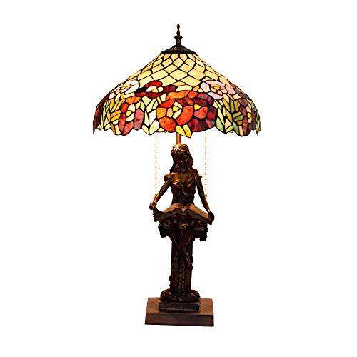 BXU-BG Pastoral americana del estilo de de cristal Lámparas de mesa hecha a mano retra Dormitorio Lámparas Compatible with estar Sala de Estudio Sala de iluminación del escritorio Lampwith Base Resina