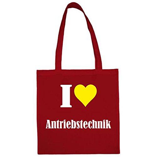 Tasche I Love Antriebstechnik Größe 38x42 Farbe Rot Druck Weiss