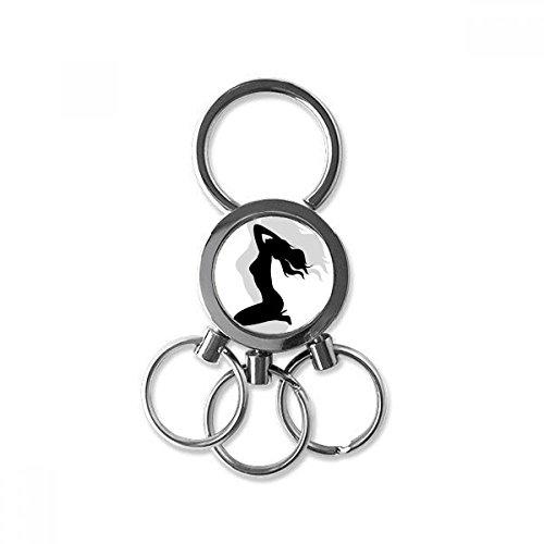 DIYthinker Hot Langes Haar Frauen Kneel Edelstahl-Metall Schlüsselanhänger Ring-Auto Keychain Keyring Clip Geschenk