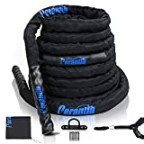 Perantlb 100% Poly Dacron Heavy Battle Rope - 1.5', 30' 40' 50' Lengths - Upgraded Durable Protective Sleeve - Gym Muscle Toning Metabolic Workout Fitness - Anchor Strap Kit Included (1.5' x 50 ft)