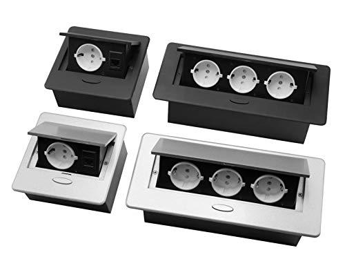 Einbausteckdose 1-Fach inkl. Ethernet + 3- Fach Tischsteckdose Bodensteckdose (1-Fach +Internet, Silber)