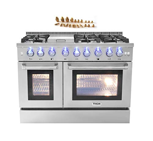 48″ 6 Burner Gas Range with Double Oven + LP Conversion Kit Bundle