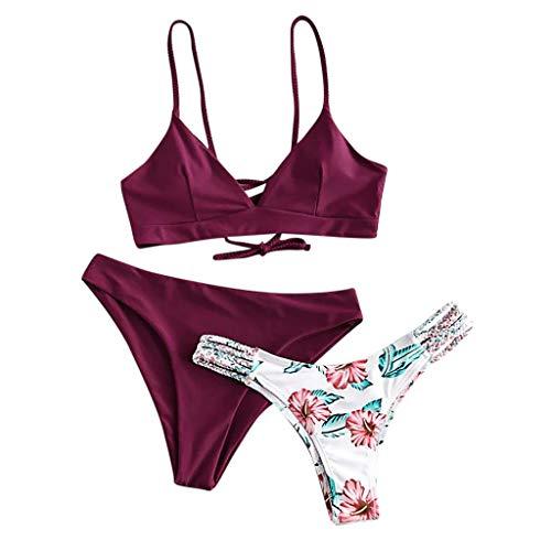 Auifor Damen Push Up Gepolsterter Bikini-Set Three Piece Filled Bra, Blatt Drucken Badehose Swimwear Beachwear(Wein,Medium)