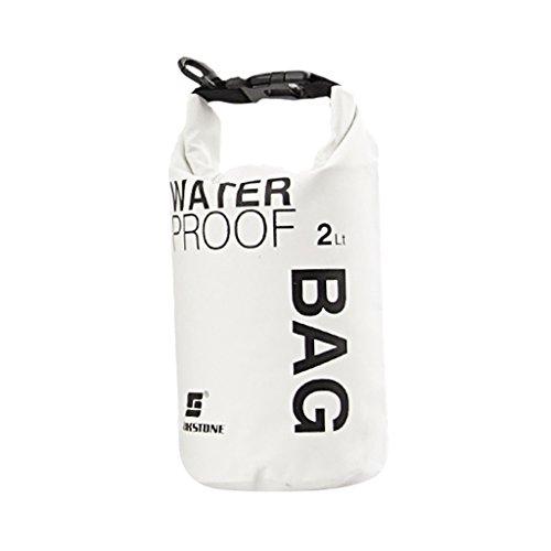 Bolsa impermeable ideal para acampada, kayak, pesca, rafting o piragüismo, color blanco, tamaño 2 L