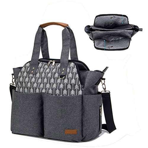 Product Image of the Lekebaby Large Diaper Bag Tote Satchel Messenger for Mom and Girls in Grey,...