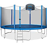 Merax 15 FT Trampoline with Safety Enclosure Net, Basketball Hoop and Ladder - 2021 Upgraded – Kids Basketball Trampoline