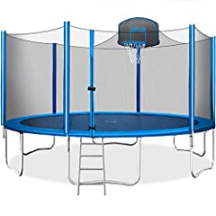 We understand SAFETY is your top priority when it comes to children. We attach equal importance to it, too. Merax 15 FT Trampoline features 6ft high safety enclosure and heavy gauge galvanized rust resistance steel construction with a total of 6 W-sh...