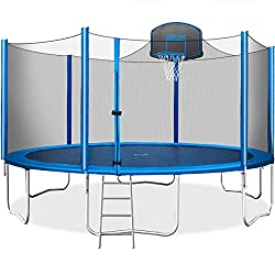 Merax 15 'Trampoline with Safety Net, Basketball Hoop and Ladder - 2020 Enhanced - Kids Trampoline