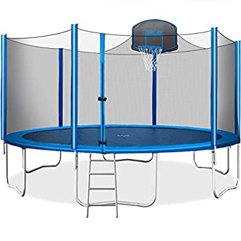 Merax 15 FT Trampoline with Safety Enclosure Net Basketball Hoop and Ladder - 2020 Upgraded – Kids Basketball Trampoline  Blue