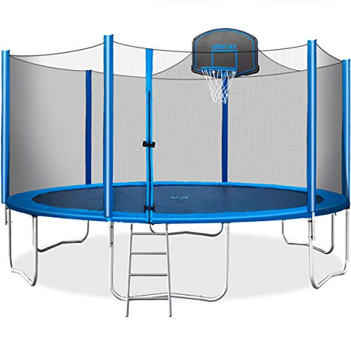 Merax 15 FT Trampoline with Safety Enclosure Net, Basketball Hoop and Ladder - 2020 Upgraded –...