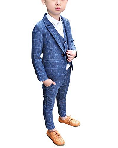 Jungen Anzüge Kinder Schlanke Passform Klassisches Kariertes Anzug-Set Mit Jacke Weste Und Hosen Grau 110