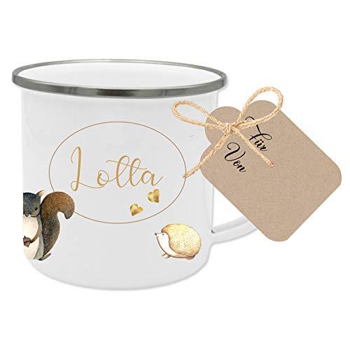 Manufaktur Liebevoll Tasse mit Namen und Tiermotiv I Besonderes Geschenk für Kinder I Geschenkidee für Mädchen und Jungen zum Geburtstag, zu Weihnachten uvm. I mit Geschenkanhänger