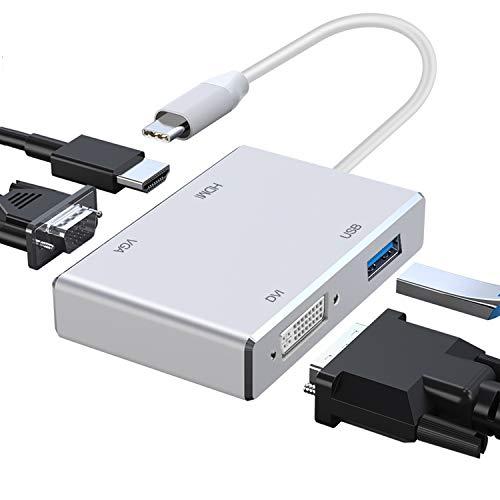 Adaptador tipo C a HDMI, Huiheng 4in1 USB C a HDMI DVI VGA Convertidor Adaptador multipuerto expansor USB para Google Chromebook, HP, Samsung S8 / S9