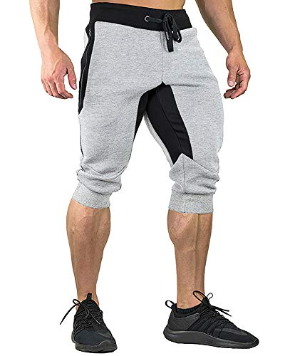 FASKUNOIE Workout Pants for Men Gym Athletic Capri Short Pants with Zipper Pockets Thermal