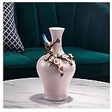 Jarrones para Flores Florero Rosa Set, un jarrón con Tapa, Hechos a Mano, artículos del hogar (12,2 Pulgadas de Alto, 7.0 Pulgadas de Ancho) Jarrones para decoración de Sala de