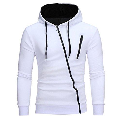 Herren Sweatshirt,Dasongff Mode Herren Lange Ärmel Kapuzenpulli Tops Jacke Taschen Mantel Schrägem Reißverschluss Outweart Sweatshirt Kapuzenpullover (M, Weiß)