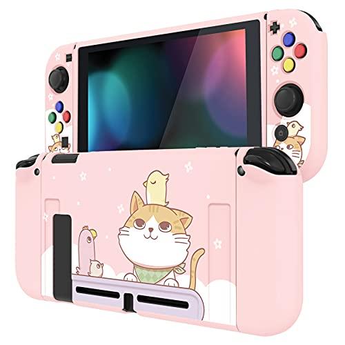 PlayVital Coque de Protection pour Nintendo Switch, Étui Mince en TPU Souple pour Nintendo Switch Joy-Con Console avec Capuchons de Bouton de Direction ABXY-Chat et Poulet