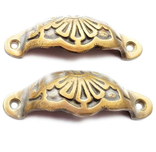 2 Solid Brass Apothecary Drawer Cup Bin Pulls Handles Antique Victorian Style 3 9/16' #A2