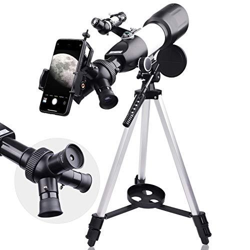 Telescopio Astronomico Portatile e Potente 16x-133.5x, Facile da Montare e da Usare, Ideale per Bambini e Adulti Principianti. Include Adattatore Mobile, una Custodia, Treppiede, 2 Oculari, Barlow 3X
