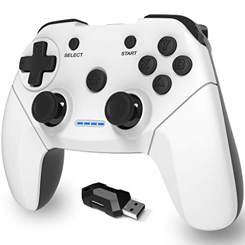 Maegoo Mando PC Inalámbrico, PS3 Mando 2.4g PC Game Mando Gamepad Joystick con Dual Shock Recargable para PS3 y PC Windows 10 XP 7 8 Smart TV/ TV Box