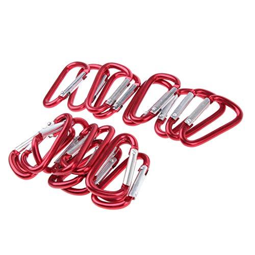 Sharplace 20 Clés en Aluminium De Mousqueton D-Ring Snap Link Key Chain pour L'extérieur - Rouge, comme décrit