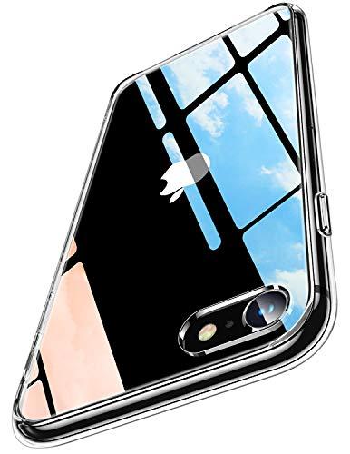 Humixx 2021年最新型 For iPhone SE ケース [第2世代] / iPhone8 / iPhone7 ケース 高透明 日本旭硝子製 黄変防止 にじみ防止 9H強化ガラス背面+TPUバンパー 衝撃吸収 滑り止め レンズ保護 ワイヤレス充電対応 クリアケース