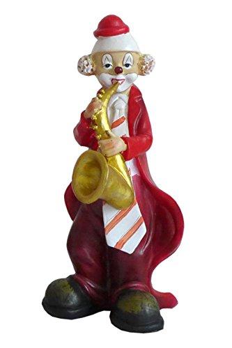 Unbekannt Niedliche Dekofigur ~ Musik Clown ~ Karneval Köln Harlekin Deko Figur Pauke Bass (Modell: mit Saxofon)