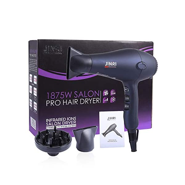 Beauty Shopping 1875w Hair Dryer, Lightweight and Quiet, Ionic Blow Dryer with Diffuser, Concentrator,