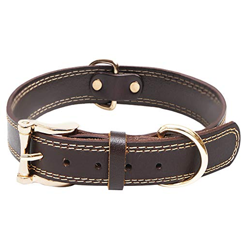 Premium-Hochleistungs-Hundehalsband aus echtem Leder, weich einstellbar für männliche Hündinnen, am besten für kleine, Mittel, grosse Rassenhunde(Braun)(L)