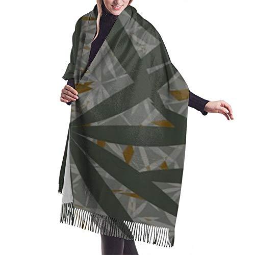 Hangdachang Emblema monocromo con hoja de marihuana. Vestido de noche chal y chal bufanda de cachemir para mujer invierno 27 * 77 pulgadas