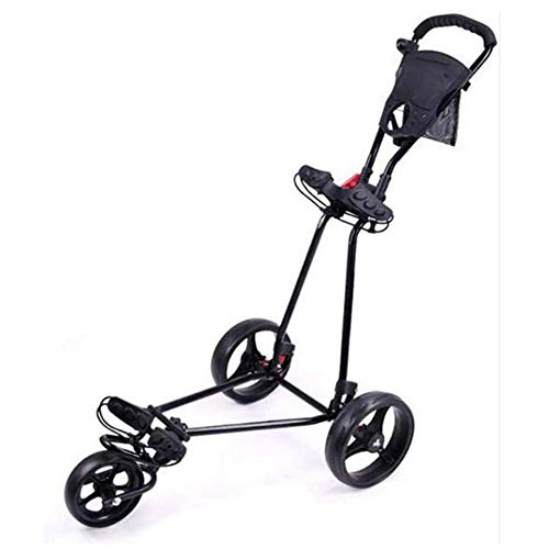 LUSHUN Golf Cart, 3 Wheel Trolley Swivel Folding Pull Push Golf Cart,with Score Board, Foot Brake, Quick Open and Close Golf Pull Cart