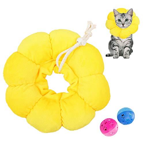 N\O Heiqlay 1 Pieza Collar Isabelino Gato, Collar de RecuperacióN para Mascotas Borde Suave Ajustable Collar Anti Mordida de Borde Suave para Mascotas para Perros y Gatos, Flor del Sol, S
