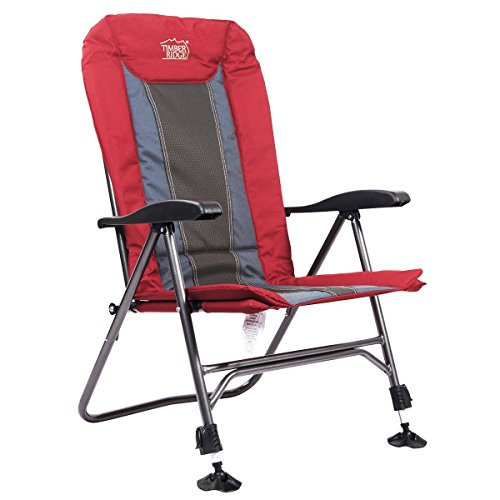 Timber Ridge Camping Chair Folding Heavy Duty with Adjustable Reclining Padded Back.