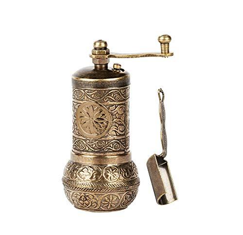 Anatolia Breeze Salz- und Pfeffermühle, nachfüllbar, schwarze Pfeffermühle mit Messlöffel, 10,7 cm, Gold