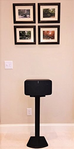 Beautiful Wood Speaker Stand Handcrafted Compatible for SONOS Play 5 and SONOS Five. Made in U.S.A. Single Stand. Black.