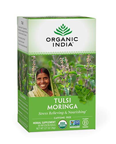 Organic India Tulsi Moringa Herbal Tea - Stress Relieving & Nourishing, Immune Support, Vegan, Gluten-Free, Certified Organic, Non-GMO, Antioxidant, Caffeine-Free - 18 Infusion Bags, 1 Pack