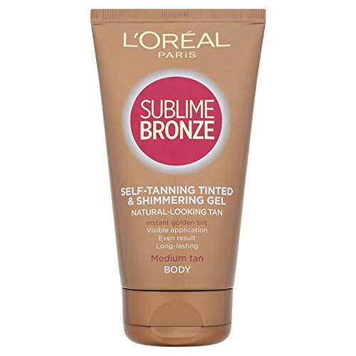 6 x L'Oreal Paris Dermo-Expertise Sublime Bronze Self-Tanning Gel Tinted & Shimmering Body 150ml