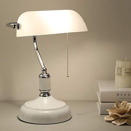 WRMING Vintage Tischlampe Bankerlampe, 1 flammige Weiß Tischleuchte im Nostalgische Design, Retro Bibliothekslampe, Nachttischlampe aus Glas und Metall, Fassung: E27, inkl. Schalter