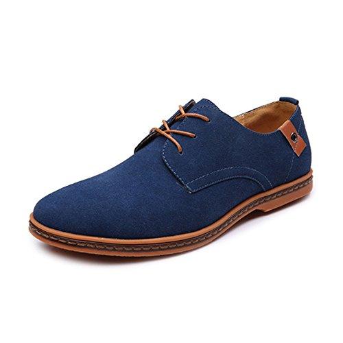 Best-choise Zapatos Holgazanes Casuales de los Hombres ata para Arriba Oxfords Casuales de Cuero de Microfibra Superior de Gran tamaño Llamativo (Color : Azul, tamaño : 48 EU)