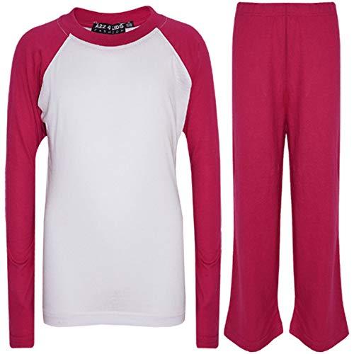 a2z4kids A2Z 4 Kids® Kinder Mädchen Jungen Kontrast Plain Farbe Stilvolle - PJS Plain Pink 11-12