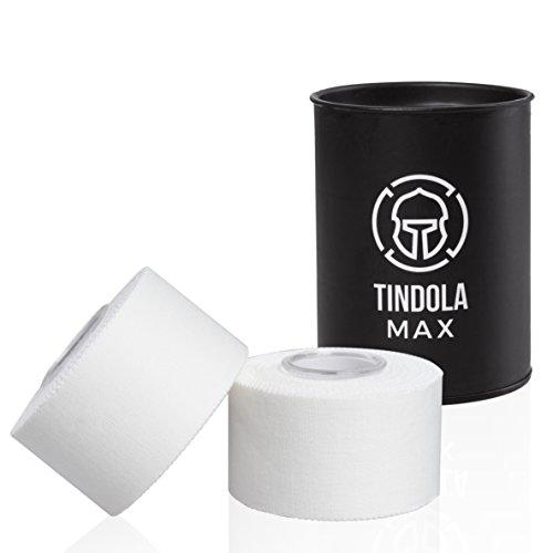 Tindola MAX® Sporttape - Sport Tape Weiß 2 Rollen mit Aufbewahrungsdose, selbstklebend für Tapeverband, starke Klebekraft